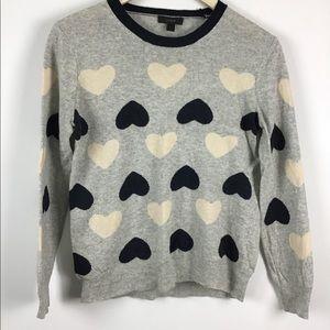 J. Crew Long Sleeve Heart Print Sweater
